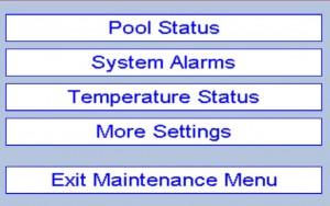 Pool maintenance menu is locked by pin code